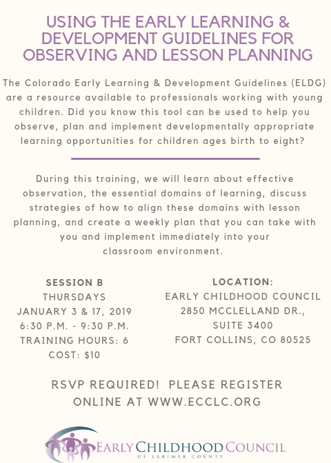 Eldg Observing And Lesson Planning Training Early Childhood